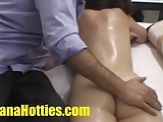 Tits and butt massage at the casting