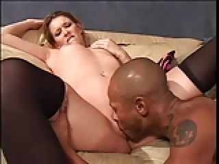 Blonde chick & black dick in action