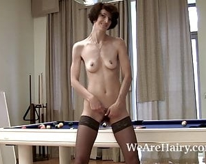 Hairy girl Milady plays some pool