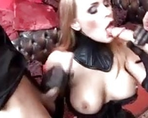 British slut Tanya gets fucked in a kinky FMM threesome
