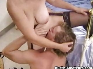 Busty Serena Adam on french kissing and blowjob