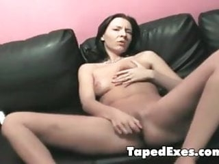Slutty girl dildos her pink holes
