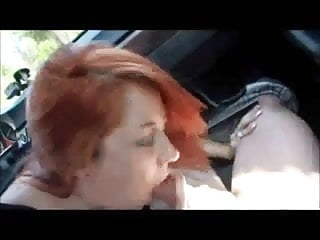 Redhead college babe gets fucked in car